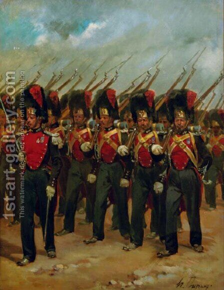 French soldiers marching by Henri-Louis Dupray - Reproduction Oil Painting