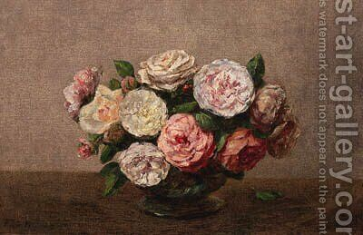 Bol de roses by Ignace Henri Jean Fantin-Latour - Reproduction Oil Painting