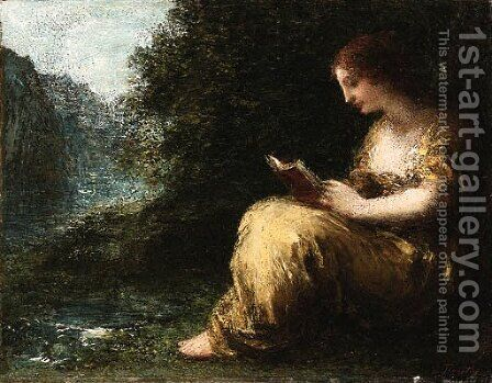 A young lady reading by Ignace Henri Jean Fantin-Latour - Reproduction Oil Painting