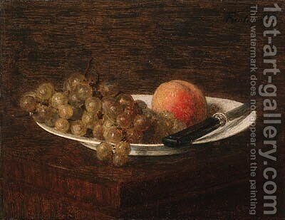 Nature morte, pche et raisin by Ignace Henri Jean Fantin-Latour - Reproduction Oil Painting