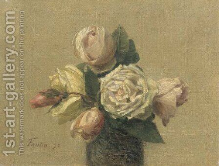 Roses jaunes et roses by Ignace Henri Jean Fantin-Latour - Reproduction Oil Painting