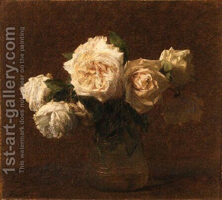 Six roses jaunes dans un vase en verre by Ignace Henri Jean Fantin-Latour - Reproduction Oil Painting