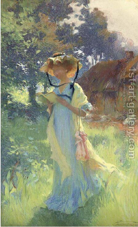 A read in the garden by Henri-Gaston Darien - Reproduction Oil Painting