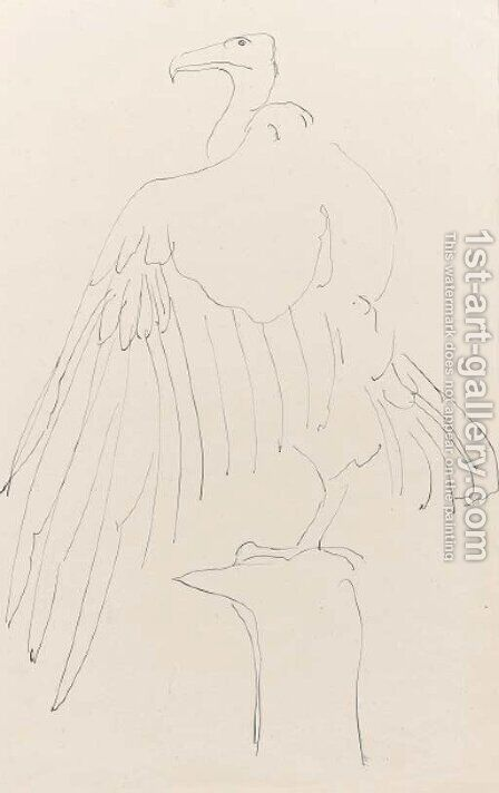 Study of an eagle on a perch by Henri Gaudier-Brzeska - Reproduction Oil Painting