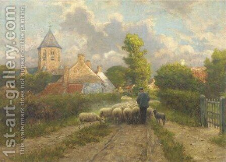 Guiding home the flock by Henri Houben - Reproduction Oil Painting