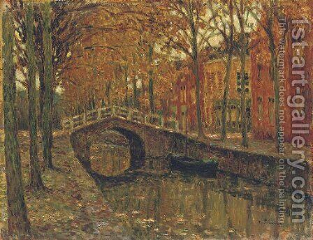 Le canal, Delft by Henri Eugene Augustin Le Sidaner - Reproduction Oil Painting