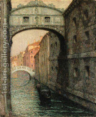 Venise, Le Pont des Soupirs (The Bridge of Sighs) by Henri Eugene Augustin Le Sidaner - Reproduction Oil Painting