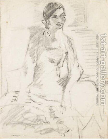 A seated woman with long earrings by Henri Lebasque - Reproduction Oil Painting