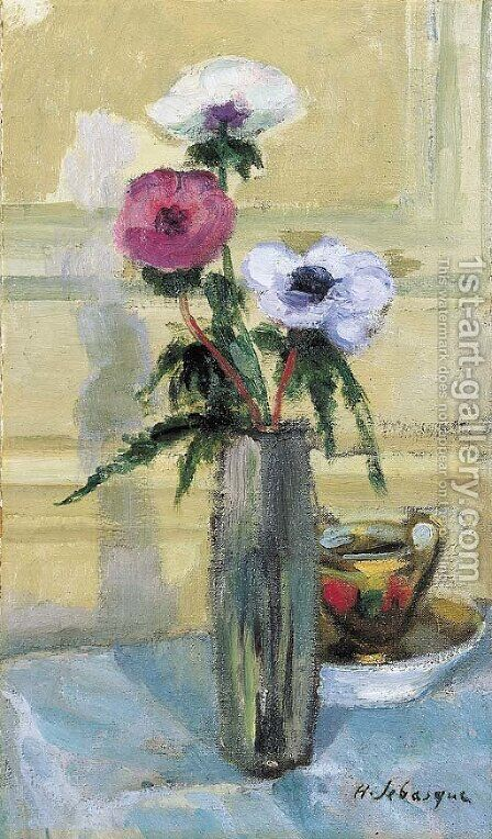 Bouquet d'anemones et tasse by Henri Lebasque - Reproduction Oil Painting