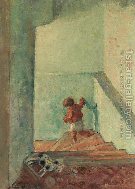 Enfant dans un escalier by Henri Lebasque - Reproduction Oil Painting