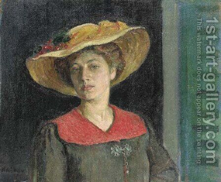 Femme au chapeau jaune by Henri Lebasque - Reproduction Oil Painting