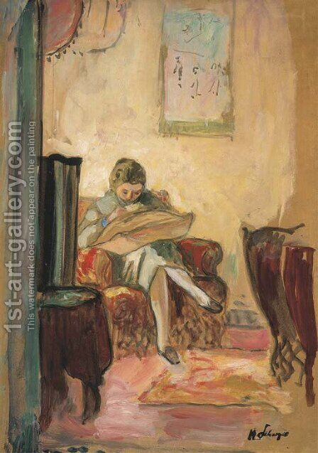 Femme cousant by Henri Lebasque - Reproduction Oil Painting