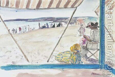 La Pointe St Gildas, scene de plage by Henri Lebasque - Reproduction Oil Painting