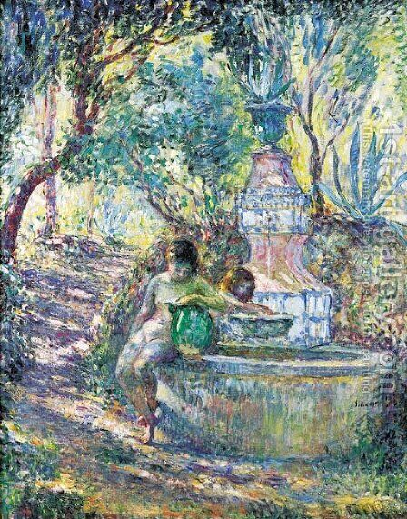 Saint-Tropez, deux jeunes filles a la fontaine by Henri Lebasque - Reproduction Oil Painting