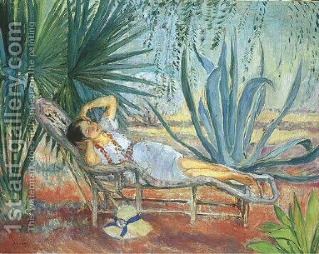 St. Tropez, Marthe assoupie dans une chaise longue by Henri Lebasque - Reproduction Oil Painting