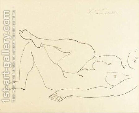 Nu couche au Visage incomplet--Etude de Jambes by Henri Matisse - Reproduction Oil Painting
