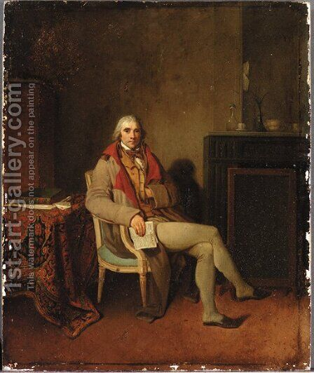 Portrait of a gentleman, small seated full-length, holding La Gazette Nationale in his right hand, in an interior by Henri Nicolas van Gorp - Reproduction Oil Painting