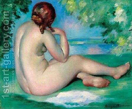 A female nude in a landscape by Henri Ottmann - Reproduction Oil Painting
