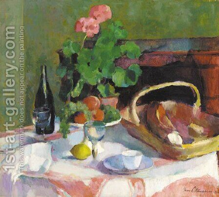Un geranium en pot avec des fruits, du pain et une bouteille de vin sur la table by Henri Ottmann - Reproduction Oil Painting
