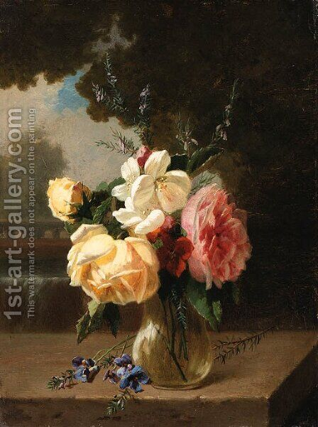 A vase of flowers on a stone ledge by a waterfall by Henri Robbe - Reproduction Oil Painting