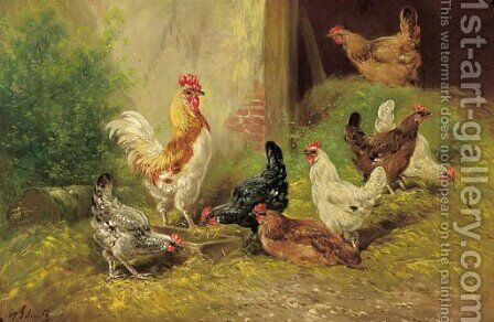 A cockerel and chickens in a farmyard by Henri Schouten - Reproduction Oil Painting