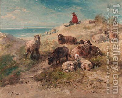A shepherd and flock resting in the dunes by Henri Schouten - Reproduction Oil Painting