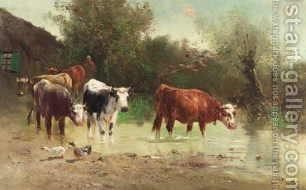 Watering cows by Henri Schouten - Reproduction Oil Painting