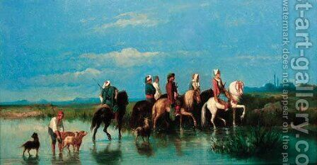 Travelling arab horsemen by Henri Van Wijk - Reproduction Oil Painting