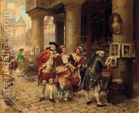 Connoisseurs at the street market by Henri Victor Lesur - Reproduction Oil Painting