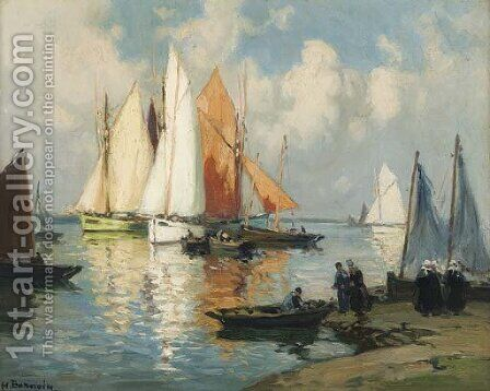 A Brittany harbour by Henri Alphonse Barnoin - Reproduction Oil Painting