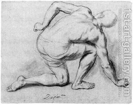 A crouching figure seen from behind by Henri Antoine de Favanne - Reproduction Oil Painting