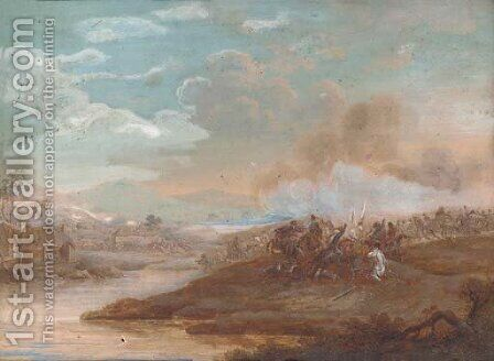 A military skirmish by Henri-Desire Van Blarenberghe - Reproduction Oil Painting