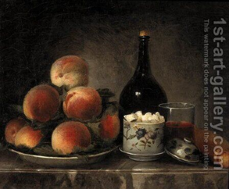 Peaches on a Plate, a Sugar Bowl, a Glass of Wine, a Bottle and a Baguette on a marble Ledge by Henri-Horace Roland de la Porte - Reproduction Oil Painting