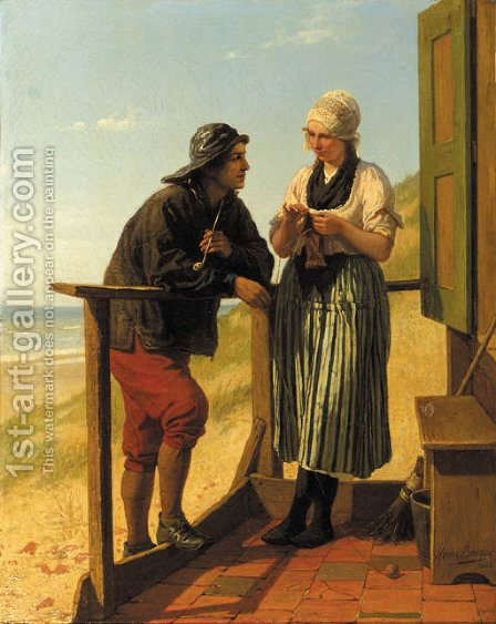 A flirtation by Henri Jacques Bource - Reproduction Oil Painting