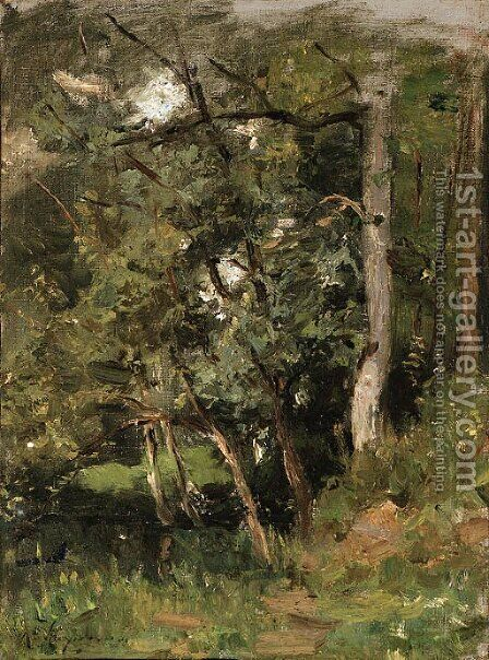 A thick forest by Henri-Joseph Harpignies - Reproduction Oil Painting