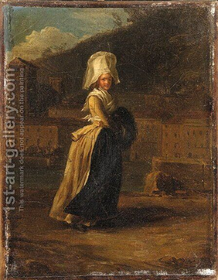 'La Coquette' A Lady walking by a River by Henri Pierre Danloux - Reproduction Oil Painting