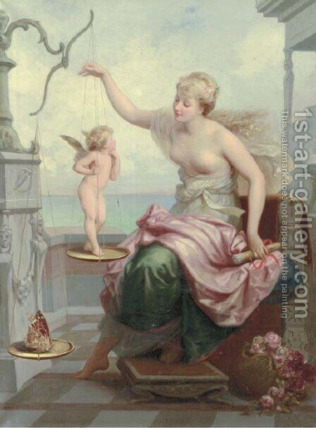 Weighing Cupid against a Butterfly by Henri Pierre Picou - Reproduction Oil Painting