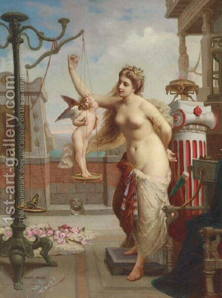Weighing Cupid by Henri Pierre Picou - Reproduction Oil Painting