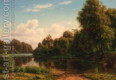 A wooded river landscape with a fisherman and figures by a landing stage by Carsten Henrichsen - Reproduction Oil Painting