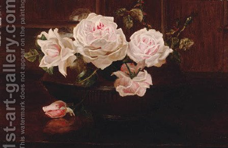 Roses in a bowl on a table by Henrietta de Longchamp - Reproduction Oil Painting