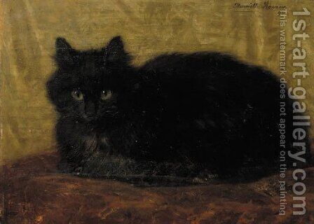 A black cat by Henriette Ronner-Knip - Reproduction Oil Painting