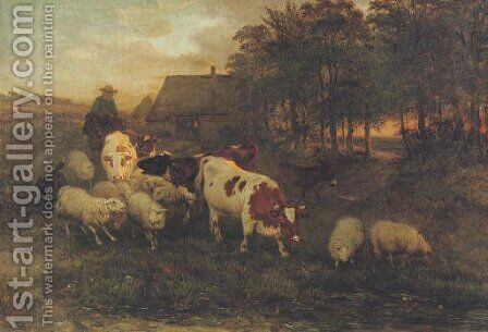 A herdsman and cattle in a Brabantine landscape by Henriette Ronner-Knip - Reproduction Oil Painting