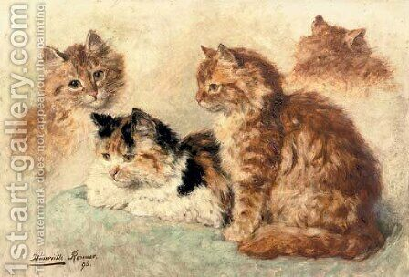 Ginger cats by Henriette Ronner-Knip - Reproduction Oil Painting