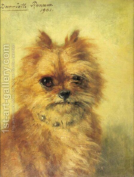 Griffon Bruxellois by Henriette Ronner-Knip - Reproduction Oil Painting