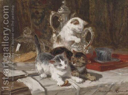 Katjesspel by Henriette Ronner-Knip - Reproduction Oil Painting