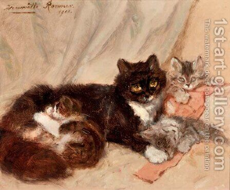 Mother cat and her kittens by Henriette Ronner-Knip - Reproduction Oil Painting