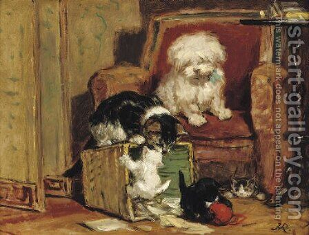 Playtime 3 by Henriette Ronner-Knip - Reproduction Oil Painting