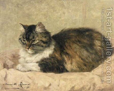 Purring with content by Henriette Ronner-Knip - Reproduction Oil Painting
