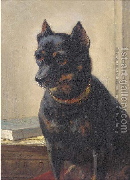 An attentive look by Henriette Ronner-Knip - Reproduction Oil Painting