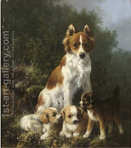 Three pups and their mother by Henriette Ronner-Knip - Reproduction Oil Painting